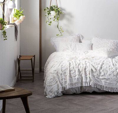 NEW Linen House Somers White Cotton Queen King Coverlet Bed Cover Throw