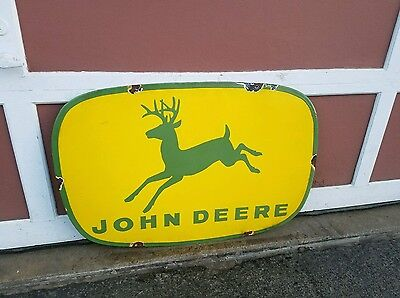 Porcelain 4 legged John Deere  sign gas oil dealer Farm Barn seed feed 1950s