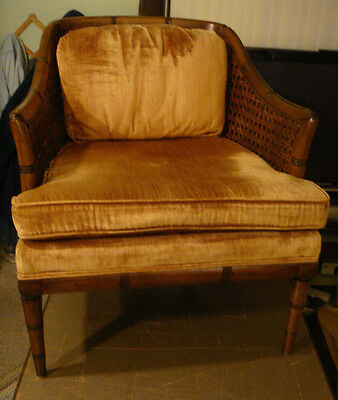 Vtg Mid Century Neiman Marcus Chair French Bamboo Arm Double Caned Barrel Back