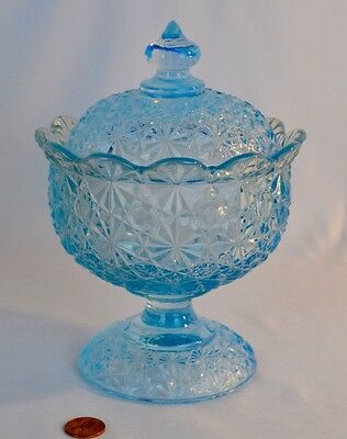 Vintage Smith Daisy & Button Blue Opalescent Covered Candy Dish w/  Black Label
