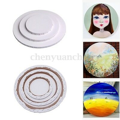 Round Cotton Blank Artist Canvas Circular Board Wood Frame Oil Acrylic Painting