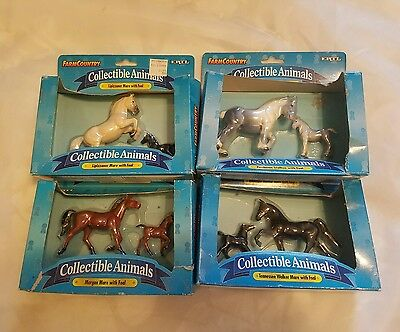 Lot of 4 ERTL Collectible Animals horses mares with foals and stallion