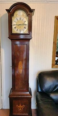 Antique Longcase Grandfather Clock Inlaid Westminster Chime Movement Excellent