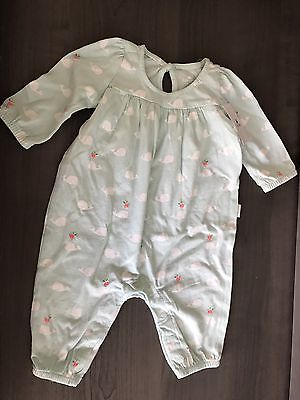 Baby Gap Girl Green Spring Romper 0-3 Months NWT Long Sleeve Whales