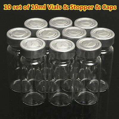 10PCS Glass Vial Bottle 10ML w/ Seal Stopper & Flip Cap For 20MM Vial Crimper US