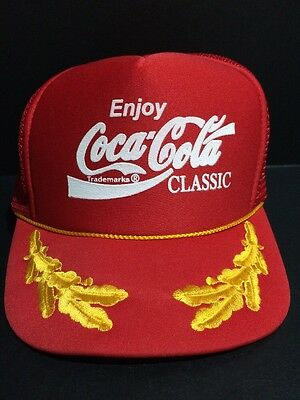Vintage Coca Cola Classic Red Hat Baseball Cap With Embroidered Design