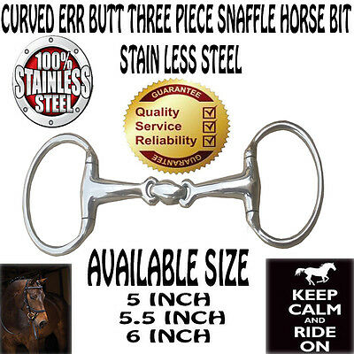 Eggbutt Curved Stainless Steel Double Jointed Lozenge Snaffle Horse Bit