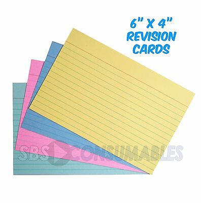 "100 Premier 6x4"" Revision Cards Assorted Colours Lined/Ruled Record Flash Cards"
