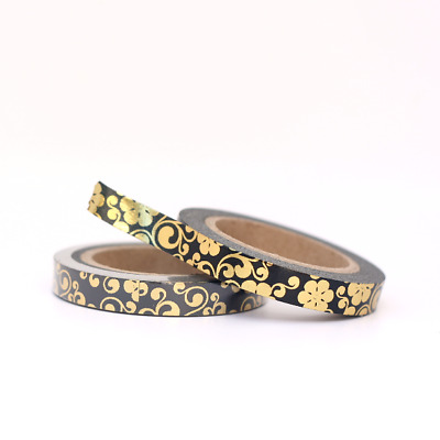 Washi Tape - Foil Tape -Gold Skinny Filigree Black 7.5mm x 10m Metallic Pretty