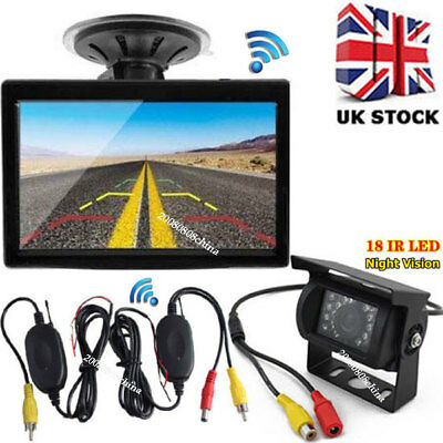 "5"" TFT LCD Car Rear View Color Monitor + Wireless Bus Truck IR Reversing Camera"