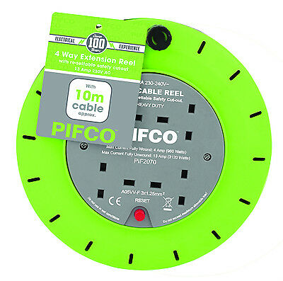 PIFCO 10M 4 Way 13 AMP Electric Extension Cable Reel Mains Plug & Socket Lead UK