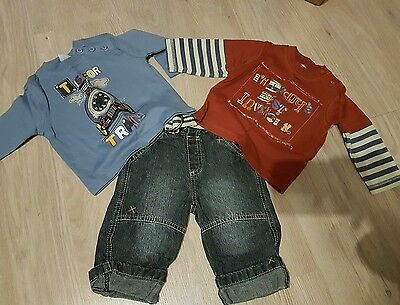 boys co ordinating set jeans tops including bibs 3-6 months
