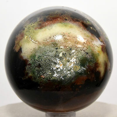 "2.1"" Natural Black Red Green Agate Crystal Sphere Quartz Mineral - India + Stand"