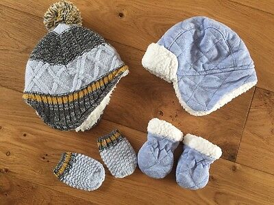 2x Hat And Mitt Sets Size 0-3 Months - BNWOT