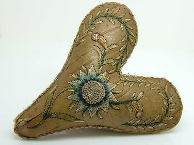 Native American 18th/19th c Embroidered Birch Bark/Moose Hair Heart Pin Cushion