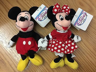 Authentic Disney Store Plush Bean Bag Mickey and Minnie Mouse