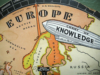 Volvelle 1931 MAP Europe Vintage CHART OF KNOWLEDGE & 3page article on Volvelle