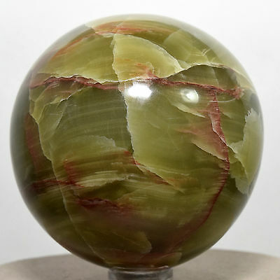 "2.5"" Natural Green / Red Aragonite Sphere Polished Crystal Mineral Peru + Stand"