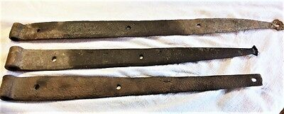 "Beautiful Set of 3 Hinges Antique Strap Barn Door Hand Forged ~ 18""-21"" long"