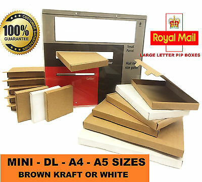 Royal Mail Large Letter Cardboard Postal Mailing PiP Boxes - Mini DL A4 A5 Sizes