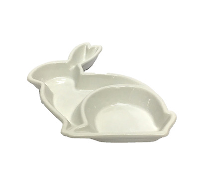 Porcelain Rabbit Dish Serving Tray Food Dipping Sauce Snack Bowl Plate