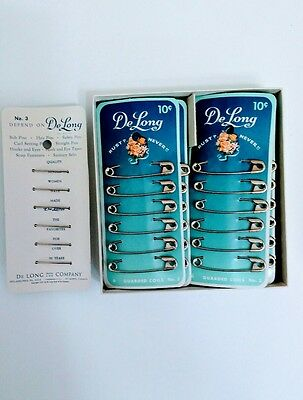 Vintage 12 CARDS DeLong SAFETY Pins with Display Box, OLD COUNTRY STORE STOCK
