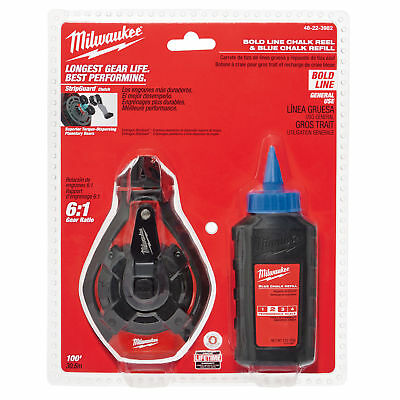 100' Bold Line Chalk Reel w/ Blue Chalk Milwaukee 48-22-3982 New