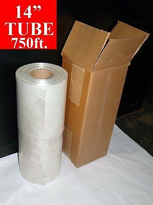 "14"" x 750' long POLY TUBE Roll 2mil Tubing 3"" Core FREE SHIPPING"