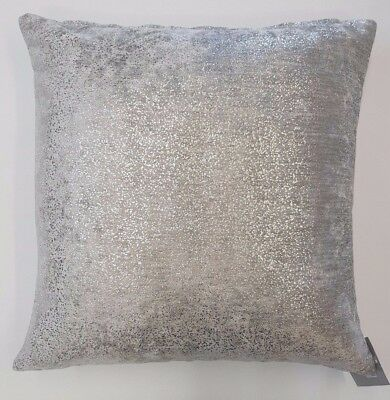 "Silver Grey Luxury Velvet Damask Cut  18"" Cushion Cover £5.38 Free Postage"