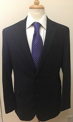 $895 Brooks Brothers Men's Navy Blue Plaid 100% Wool Business Suit 40R 34x30