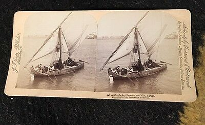 Arab Market Boat On The Nile Egypt 1898 Stereo View Card  Stereo view