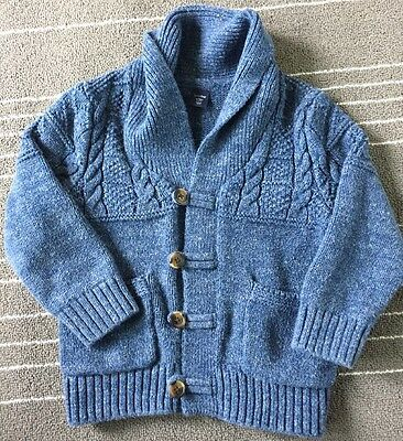 Boys Baby Gap Blue Tweed Cable Knit Cardigan Sweater Size 3T
