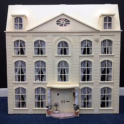 Large Handmade Georgian Style Wooden Dolls House With Dolls & Accessories
