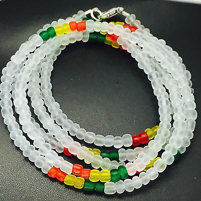 Crystal Red Yellow Green Rasta Color African Waist Beads Belly Chain with Clasp