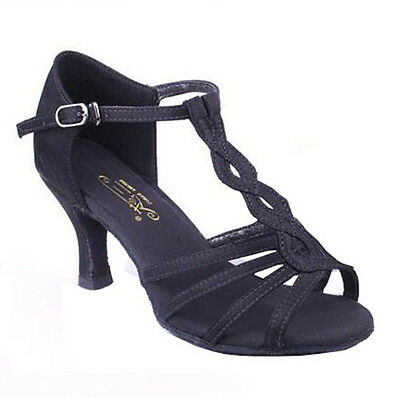 New Womens Ladies Girls Latin Tango Dance Party Shoes Ballroom Heeled Salsa S056