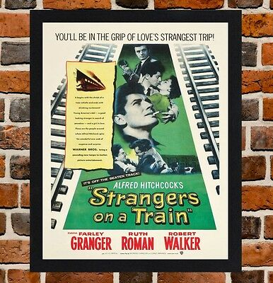 Framed Strangers On A Train Movie Poster A4 / A3 Size In Black / White Frame .