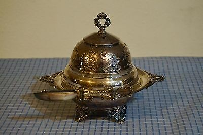 VTG Butter Dish Sterling Silver Engraved Ornate Eagle SP 233 Knife