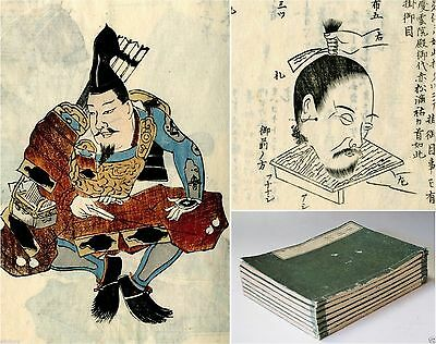 SAMURAI > 1843 7 vol Japanese woodblock print book set YOROI - HEAD CEREMONY!!!