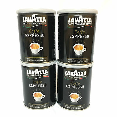 Lavazza Caffe Espresso 100% Arabica - Ground Coffee, 8-Ounce Cans (Pack of 4)