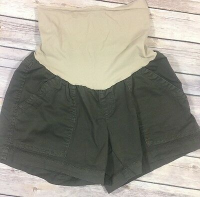Oh Baby Motherhood Maternity Womens Shorts Size Sz Medium M Green Stretch 1088