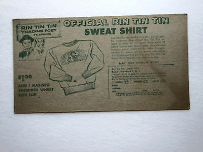 1956 Official Nabisco Rin Tin Tin Card- Official Sweat Shirt,v Gc