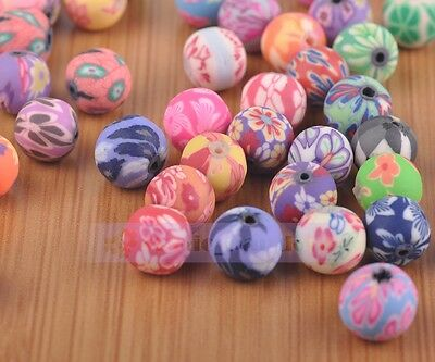 Round Clay Polymer Fimo Charms Loose Cratf Beads Mixed 6mm/8mm/10mm/12mm/16mm