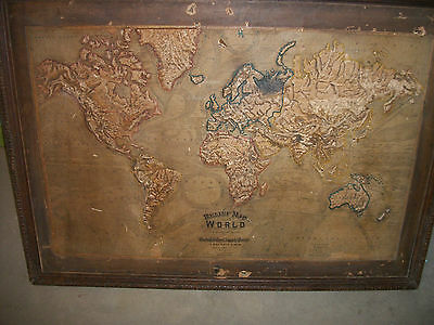 Rare Antique complete set of 6 Large Wall Relief Maps Central School Supply Hous