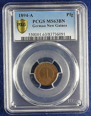 1894 German New Guinea 1 Pfennig * Pcgs Certified Ms 63Bn Low Mintage 33,000