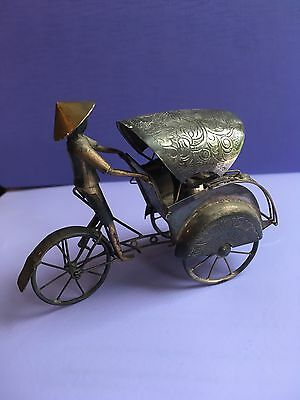 ANTIQUE CHINESE MODEL RICKSHAW FIGURE marked SILVER