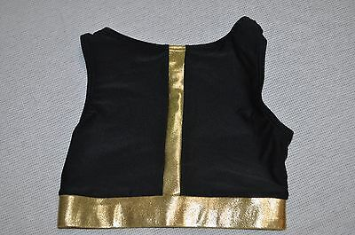 NWT Double Platinum  Adult  size Small gold   black Crop Bra Top  item # N7351