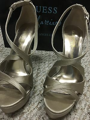 GUESS by Marciano 8 M gold leather w sparkle high heel shoes