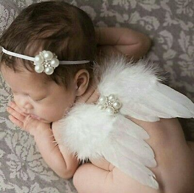 Newborn Photography Prop Angel Wings Head Piece Girl White Fast Ship USA Seller