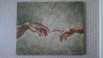 Michelangelo Hand of God and Adam  oil painting on canvas, mounted