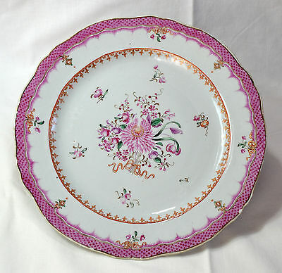 "Chinese Porcelain Plate, decorated with flowers in ""Famille Rose"" - 18th Century"